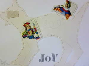 "Joy, 9"" x 12"", 2001, mixed media"