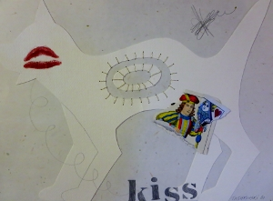 "Kiss, 9"" x 12"", 2001, mixed media"