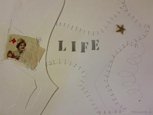 """Life, 9"""" x 12"""", 2001, mixed media"""