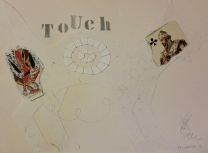 "Touch, 9"" x 12"", 2001, mixed media"