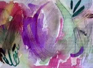 """Waterfall, 7"""" x 10"""", 2001"""