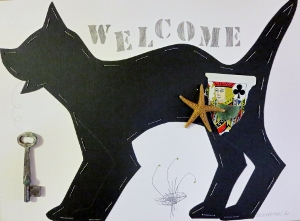 "Welcome, 9"" x 12"", 2001, mixed media"