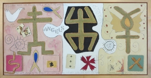 "Karen Tashkovski, Angels, 18"" x 36"", 1997, oil & collage, $675"