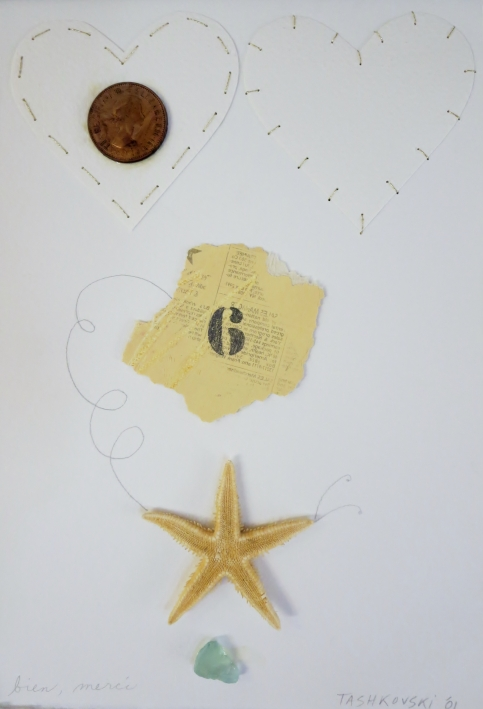 "Karen Tashkovski, Bien, Merci, 11"" x  7 1/2"", 2001, mixed media paper collage, $50"