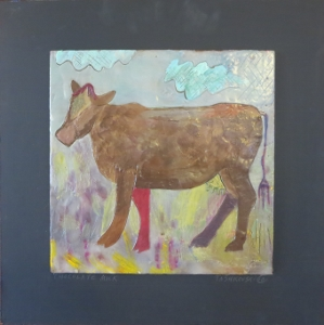 "Chocolate Milk, 18"" x 18"", 2012, encaustic, $125"
