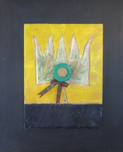 "Crowning Glory, 18"" x 15"", 2012, encaustic, $125"