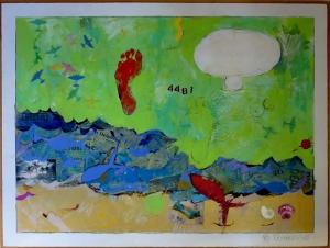 """Karen Tashkovski, Deerfield Beach, 36"""" x 48"""", 1990, acrylic & collage, $1,000"""