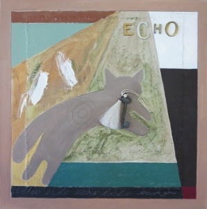 "Echo-3, 18"" x 18"", 2005, mixed media"