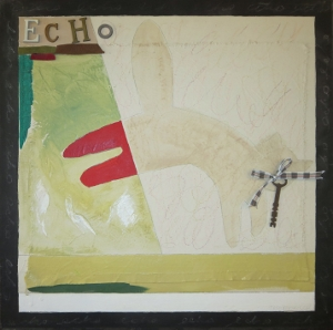 "Echo-7, 18"" x 18"", 2005, mixed media"