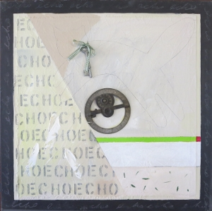 "Echo-8, 18"" x 18"", 2005, mixed media"