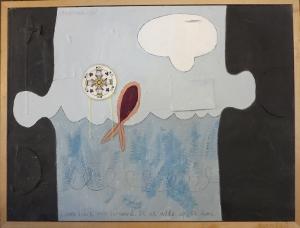 """Karen Tashkovski, Fish Out of Water, 18"""" x 24"""", 1998, $200"""