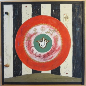 "Karen Tashkovski, Good Fortune, 36"" x 36"", 1997, oil & collage, $800"