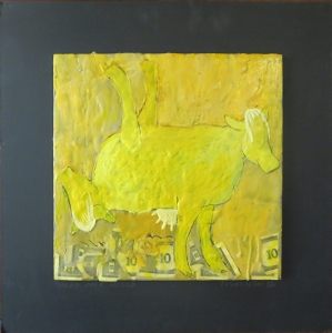 "Head Over Heels, 18"" x 18"", 2012, encaustic, $125"
