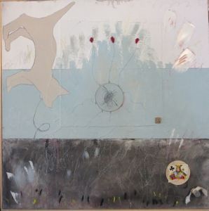 "Karen Tashkovski, J, 30"" x 30"", 2000, oil, latex & collage, $675"