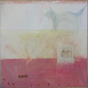 """Karen Tashkovski, Key, 30"""" x 30"""", 2000, oil, latex & collage, $675"""