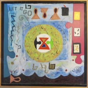 """Karen Tashkovski, Let It Go, 36"""" x 36"""", 1997, 1997, oil & collage, $800"""