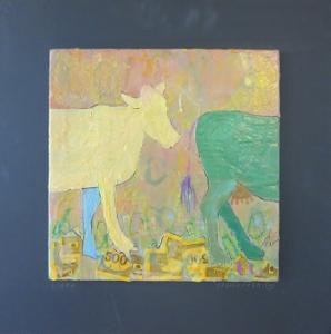"Libra, 18"" x 18"", 2012, encaustic, $125"