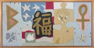 Karen Tashkovski, Life. Liberty. Happiness., 1997, oil & collage, $675