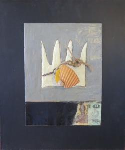 "Modern Pharoah, 18"" x 15"", 2012, encaustic, $125"