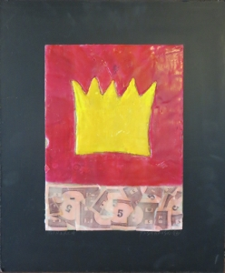 "Monarch, 18"" x 15"", 2012, encaustic, $125"