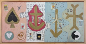 "No Hope, 18"" x 36"", 1997, oil & collage, $675"