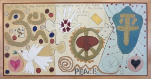 "Karen Tashkovski, Peace, 18"" x 36"", oil & collage, $675"