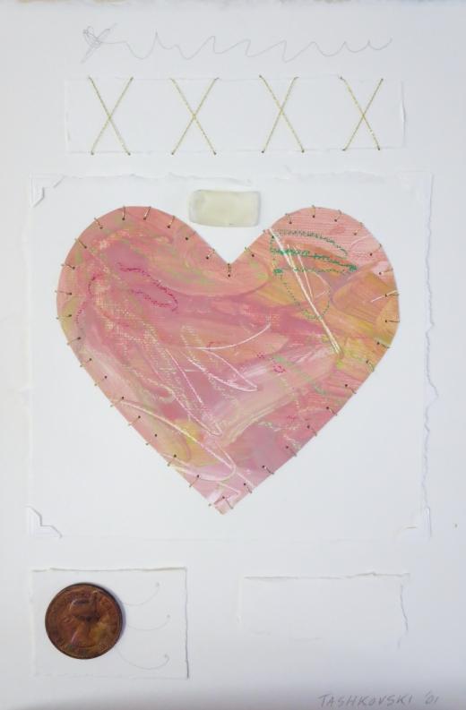 """Karen Tashkovski, Pink, 11"""" x  7 1/2"""", 2001, mixed media paper collage, $50"""