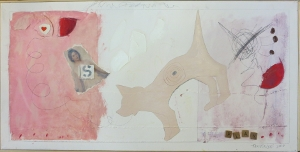 "Karen Tashkovski, Play, 18"" x 24"", 2000, oil, latex & collage, $500"