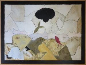 "Karen Tashkovski, Pompano Beach, 36"" x 48"", 1994, oil & collage, $1,000"