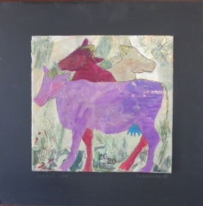 "Purple Cow, 18"" x 18"", 2012, encaustic, $125"