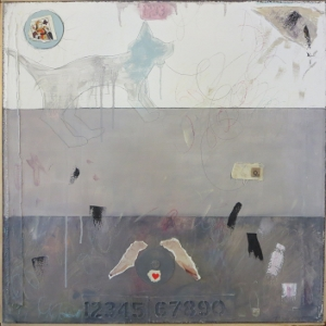 "Karen Tashkovski, Q, 30"" x 30"", 2000, oil, latex & collage, $675"