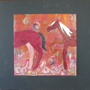 "Red Horse, 18"" x 18"", 2012, encaustic, $125"