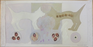 "Karen Tashkovski, Rescue, 18"" x 36"", 2000, oil, latex & collage, $500"