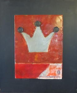 "Royal Gamer, 18"" x 15"", 2012, encaustic, $125"