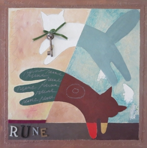 "Rune-11, 18"" x 18"", 2005, mixed media"