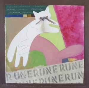 "Rune, 18"" x 18"", 2005, mixed media"