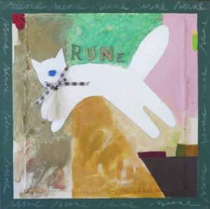 "Rune 4, 18"" x 18"", oil & collage, 2005"
