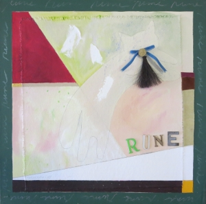 "Rune 7, 18"" x 18"", oil & collage, 2005"