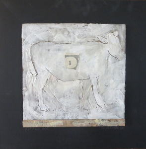 "Sacred One, 18"" x 18"", 2012, encaustic, $125"