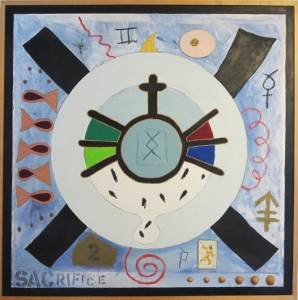 "Karen Tashkovski, Sacrifice, 36"" x 36"", 1997, oil & collage, $800"