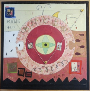 "Karen Tashkovski, Same Old, 36"" x 36"", 1997, oil & collage, $800"