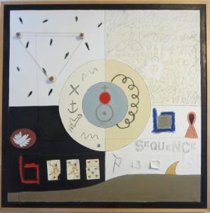 "Karen Tashkovski, Sequence, 36"" x 36"", 1997, oil & collage, $800"