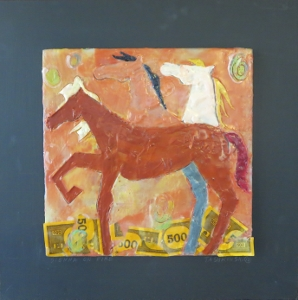"Sienna On Fire, 18"" x 18"", 2012, encaustic, $125"
