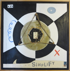 "Karen Tashkovski, Simplify, 36"" x 36"", 1997, oil & collage, $800"