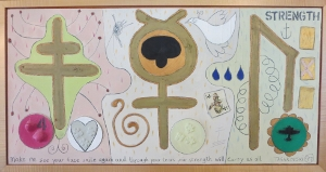 "Karen Tashkovski, Strength, 18"" x 36"", 1997, oil & collage, $675"