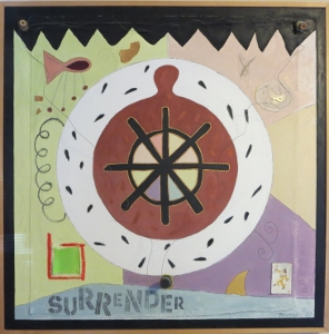 "Karen Tashkovski, Surrender, 36"" x 36"", 1997, oil & collage, $800"