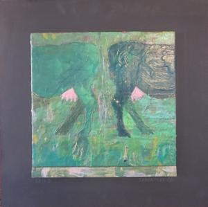 """Tails, 18"""" x 18"""", 2012, encaustic, $125"""