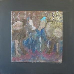 """Tete-a-Tete, 18"""" x 18"""", 2012, encaustic, $125"""