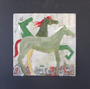 "The Race, 18"" x 18"", 2012, encaustic, $125"