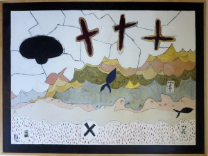 "Karen Tashkovski, Three Crosses, 36"" x 48"", 1995, oil & collage, $1,000"
